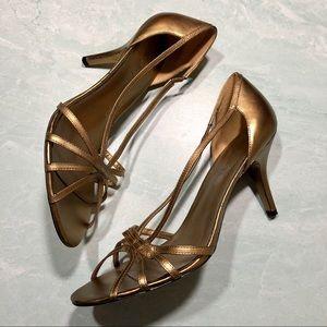 Ann Taylor LOFT gold metallic leather heels size 8
